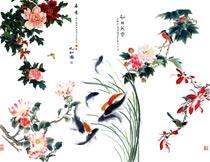 中国风水墨花朵和水墨鱼PSD素材