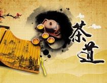 中国风竹简茶道文化设计PSD源文件
