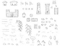 108款手绘地图元素PS笔刷