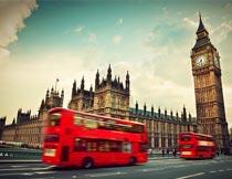 伦敦大本钟双层巴士风景摄影图片