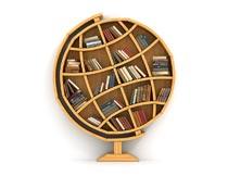 地球仪创意造型书架摄影图片