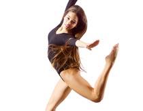 跳跃的性感长发美女写真摄影图片