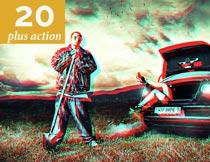 20款照片转3D电影艺术效果PS动作