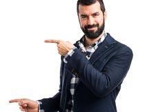双手作指向的络腮职业男人摄影图片