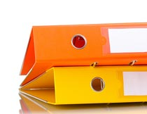 橙色与黄色的文件夹特写摄影图片