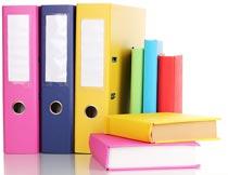 彩色的文件夹与书籍特写摄影图片