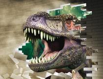 撞破墙壁的大恐龙立体背景高清图片