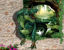 绿色恐龙主题影楼摄影立体背景图片