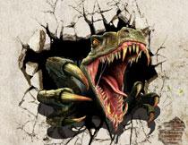 长着血盆大嘴巴的恐龙影楼背景图片