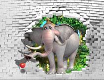 站在砖墙外的大象主题影楼背景图片