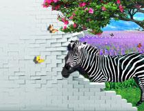 鲜花树枝与斑马等影楼背景高清图片