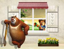 熊出没卡通角色等影楼立体背景图片