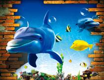 在海底游动着的鱼影楼立体背景图片
