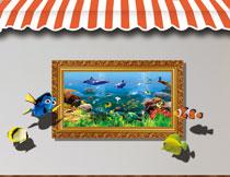 海水里游着的鱼群影楼摄影高清图片