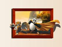 娇虎与披着头蓬的功夫熊猫影楼背景