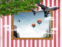 飞出画面的大飞机影楼摄影背景图片