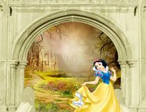 站在台阶上的白雪公主影楼背景图片