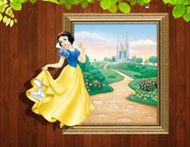 花园城堡与白雪公主等影楼背景图片
