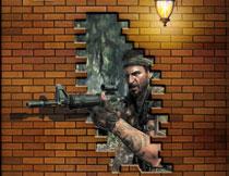 透过砖墙的丛林特种兵影楼背景图片