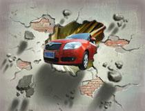 冲破墙壁的红色小轿车影楼背景图片