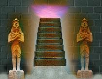 守卫着宝藏的两尊塑像影楼背景图片