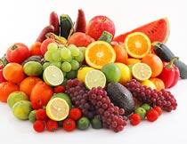 一堆绿色有机的水果蔬菜摄影图片