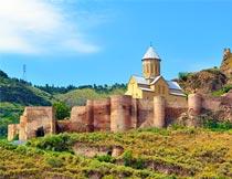 美丽的格鲁吉亚山庄风光摄影图片