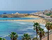 美丽的突尼斯海岸城市风光摄影图片