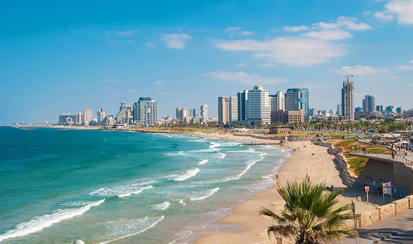 城市海滩椰树高楼大厦摩天大楼以色列国外城市海边美女布衣沙滩水上风光外国贵州图片