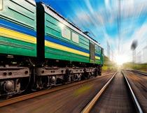 行驶中的火车局部特写摄影图片