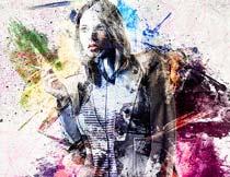 人像添加炫彩油漆背景特效PS动作