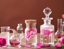 玻璃瓶中的玫瑰花瓣精油摄影图片