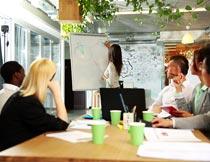 会议室分析图表的商务团队摄影图片