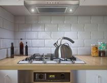 厨房间煤气灶台装修设计摄影图片