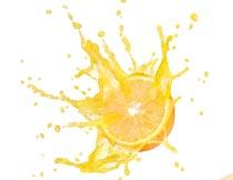 新鲜橙子与动感果汁特写摄影图片