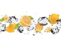 新鲜柠檬与冰块溅起的水花摄影图片