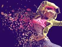 创意的人像被花瓣打散特效PS动作