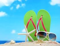 沙滩上的拖鞋墨镜海星海螺摄影图片
