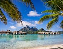 蓝天下的美丽海岸岛屿风光摄影图片