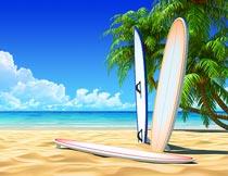 蓝天下沙滩上的椰树冲浪板摄影图片