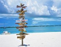 海边沙滩上的路标提示牌摄影图片