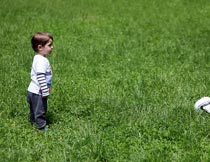 碧绿草地上的小男孩与足球摄影图片