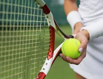 拿球拍和网球的运动员局部摄影图片