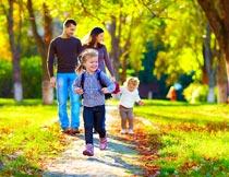 秋天林间小道散步的一家人摄影图片