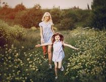 黄色花丛间开心玩耍的母女摄影图片