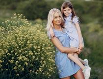 站在花丛旁抱着女儿的妈妈摄影图片