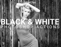 中文版照片高质量黑白效果PS动作