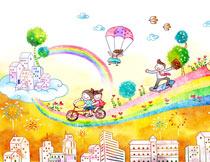 幼儿园插画主题背景设计PSD源文件