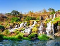 秋季美丽的山水瀑布风光摄影图片