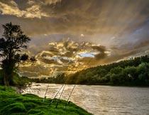 阳光晚霞树木与河流美景摄影图片